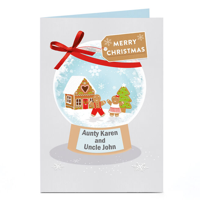 Personalised Christmas Card - Gingerbread Snow Globe