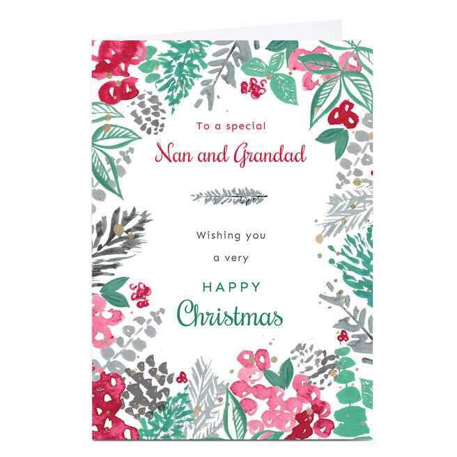 Personalised Rebecca Prinn Christmas Card - Festive Leaves