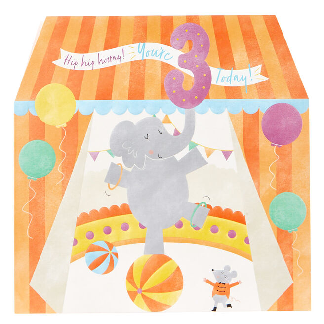 Platinum Collection 3rd Birthday Card - Circus Elephant