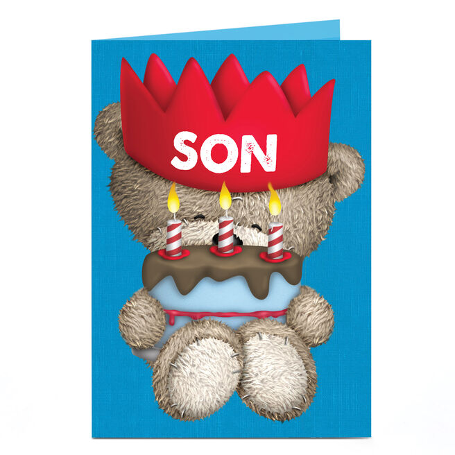 Personalised Hugs Birthday Card - Red Crown [Son]