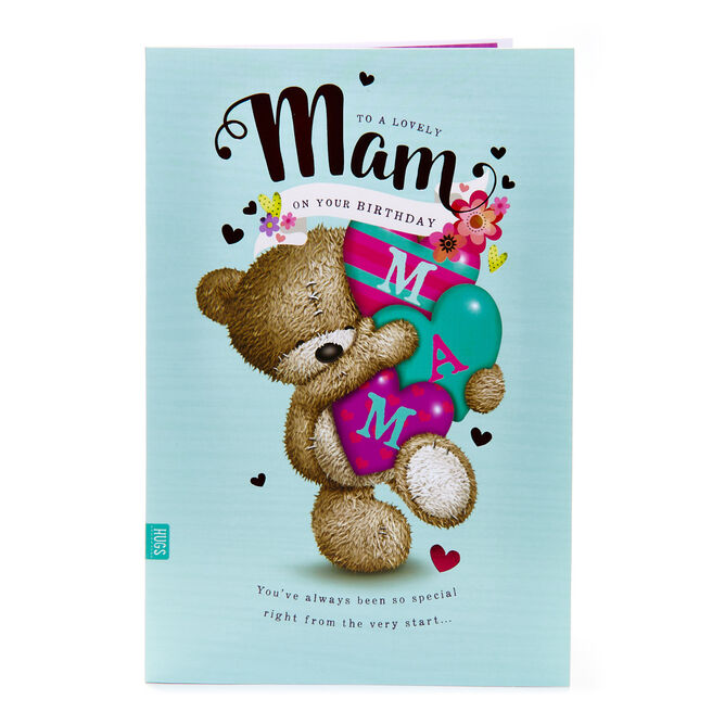 Hugs Bear Birthday Card - To A Lovely Mam