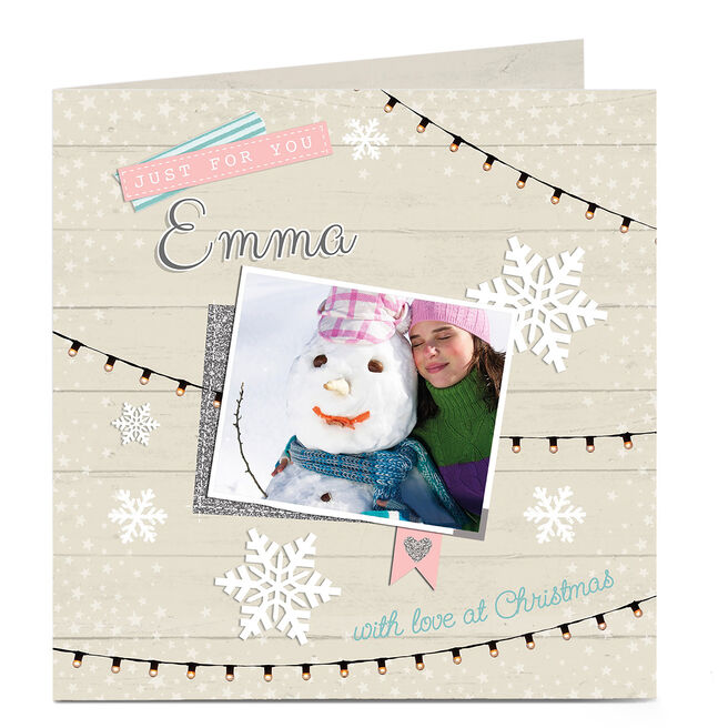 Photo Christmas Card - Snowflakes And Fairy Lights
