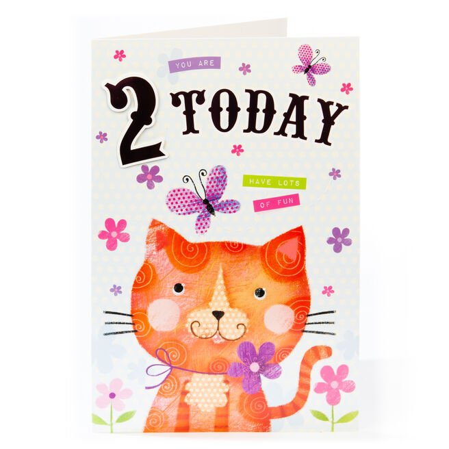 Giant 2nd Birthday Card - Kitty & Flowers