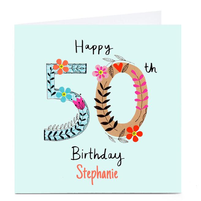 Personalised Lindsay Kirby 50th Birthday Card