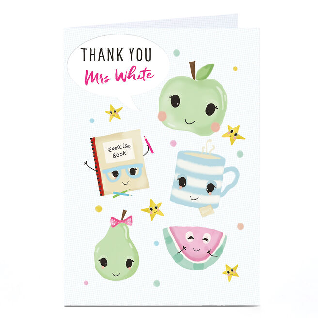 Personalised Thank You Teacher Card - Fruit And Tea