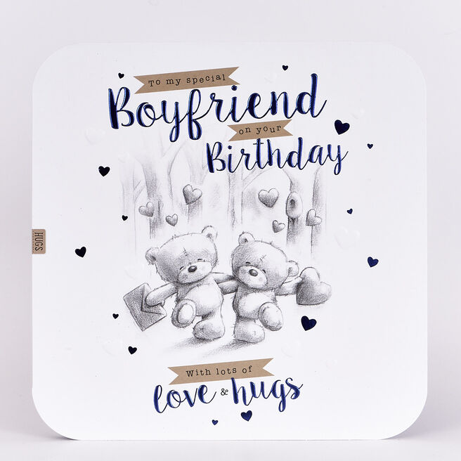 Platinum Collection Birthday Card - Hugs Boyfriend
