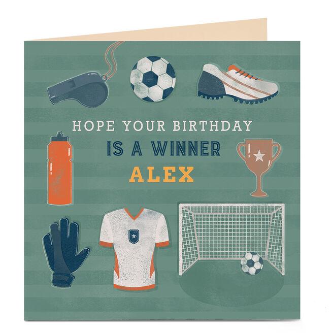 Personalised Birthday Card - Football Winner