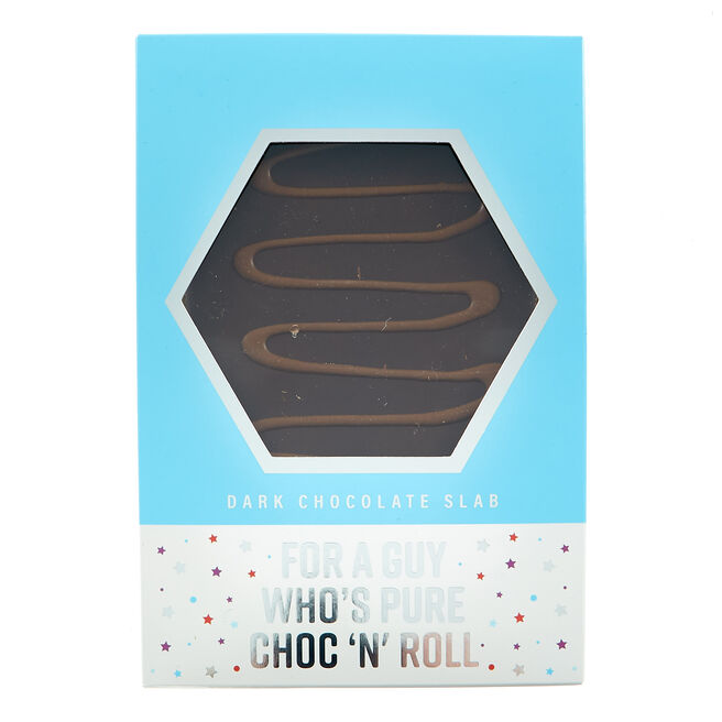 Dark Chocolate Slab - For A Guy Who's Pure Choc 'n' Roll