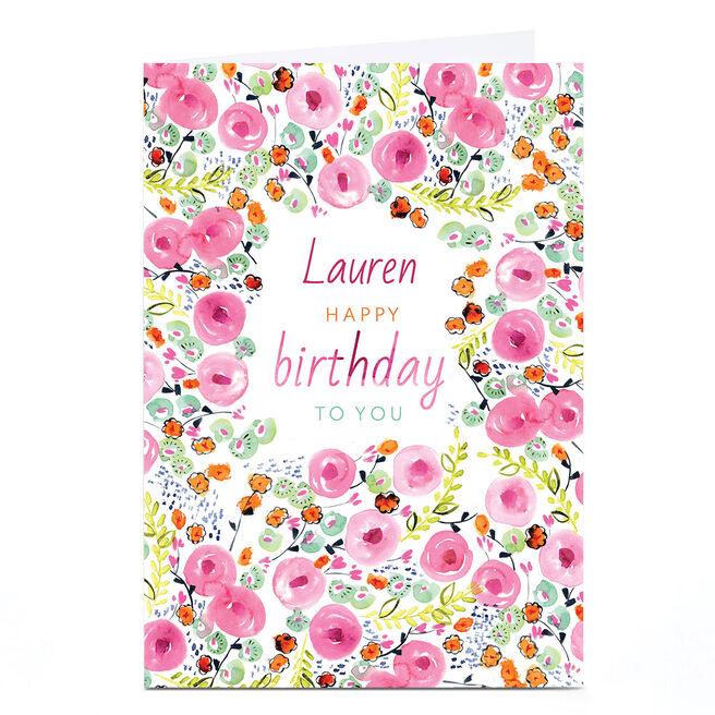 Personalised Rebecca Prinn Birthday Card - Pink Print