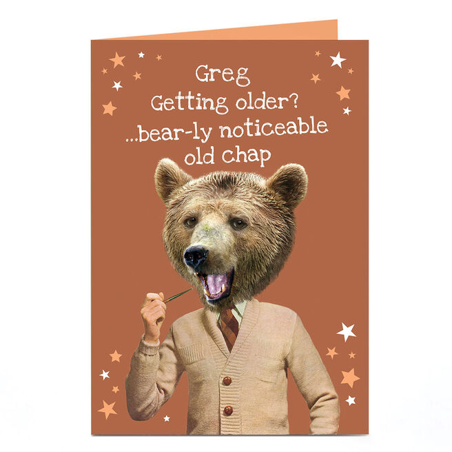 Personalised Heritage Wild Birthday Card - Bear-ly Noticeable