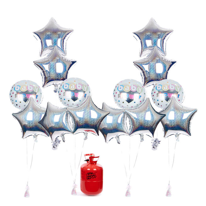 Baby Shower Balloon Bundle - Silver Stars & Helium - FREE NEXT DAY DELIVERY