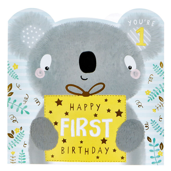 Platinum Collection 1st Birthday Card - Cute Koala