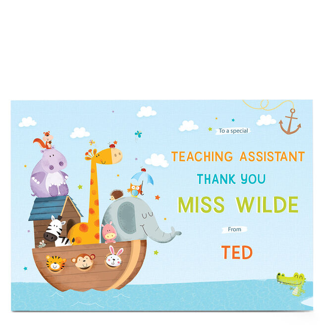 Personalised Thank You Teaching Assistant Card - Animal Ark