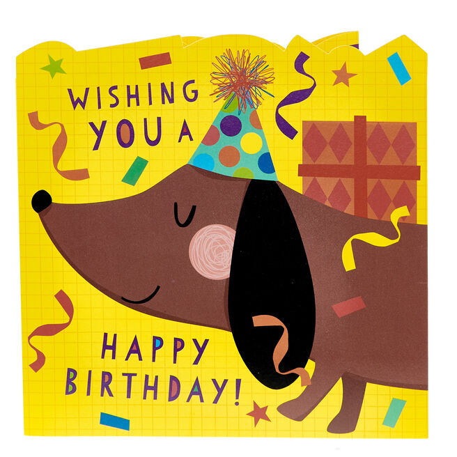 Unfolding Banner Birthday Card - Sausage Dog