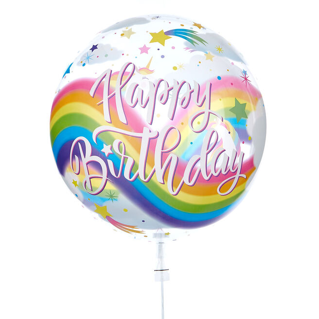 22-Inch Bubble Balloon - Happy Birthday, Unicorns - DELIVERED INFLATED!