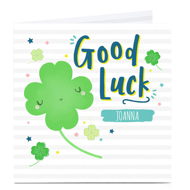 Personalised Good Luck Card - Lucky Clover