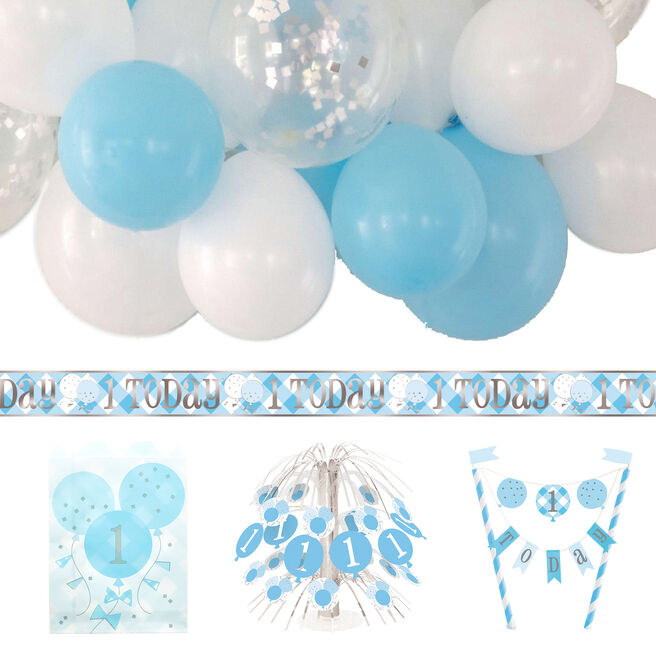 Blue Gingham 1st Birthday Party Accessories Bundle - 20 Pieces
