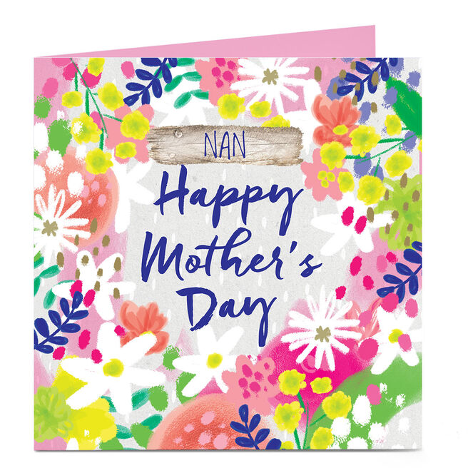 Personalised Mother's Day Charity Card - Colourful Flowers