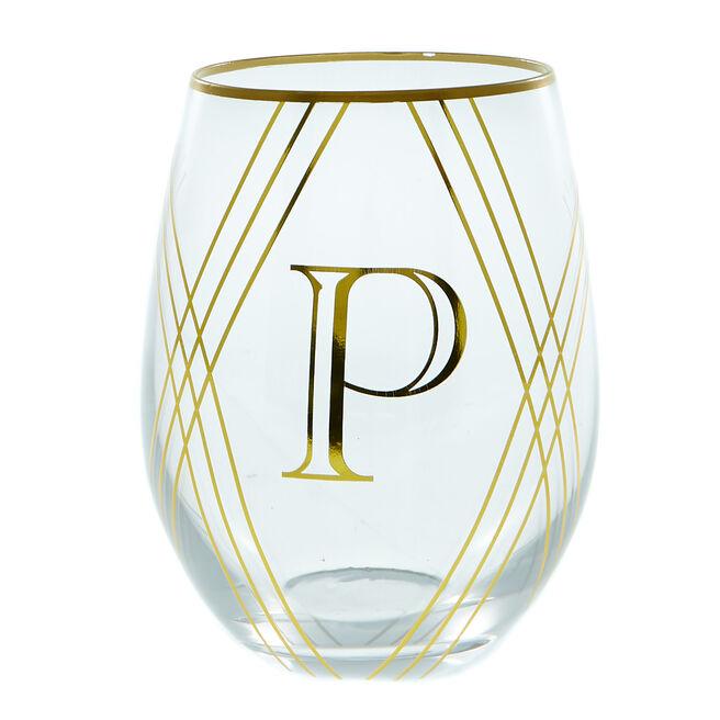 Letter P Glass Tumbler