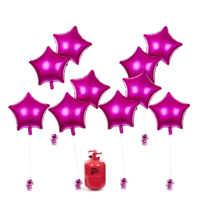 Party Balloon Bundle - 10 Magenta Stars & Helium