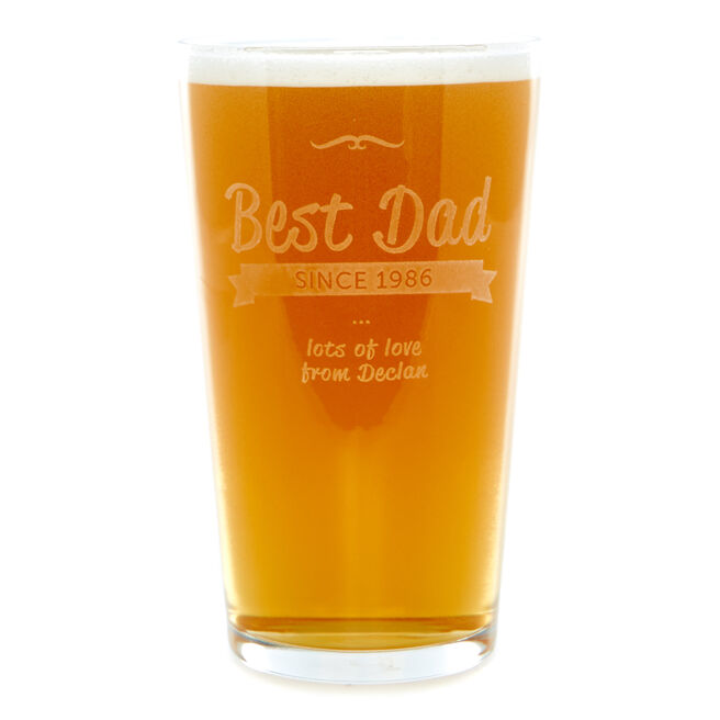 Personalised Best Dad Pint Glass