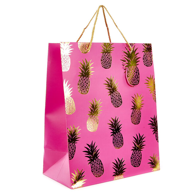 Medium Portrait Gift Bag - Pink & Gold Pineapples