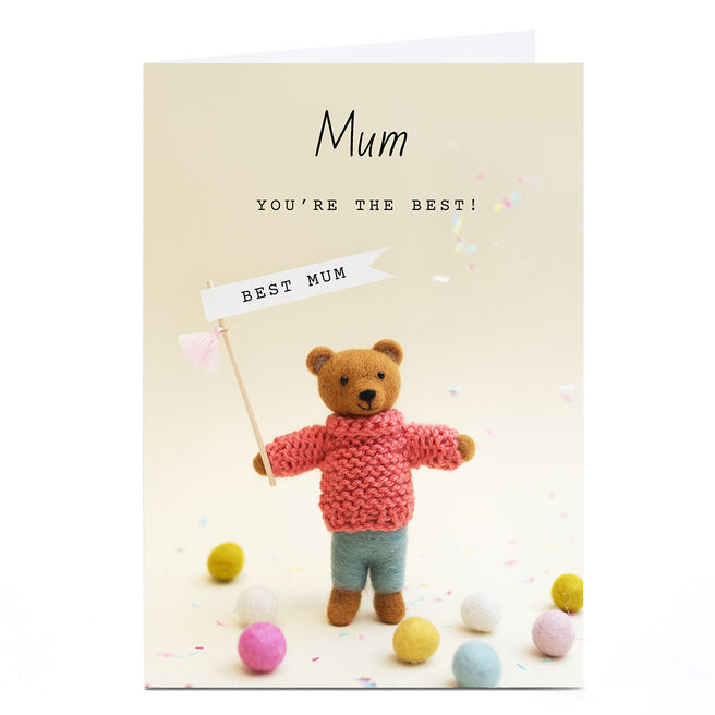 Personalised Lemon & Sugar Mother's Day Card - Knitted Bear