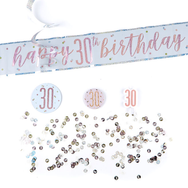 Rose Gold 30th Birthday Party Accessories Kit - 11 Pieces