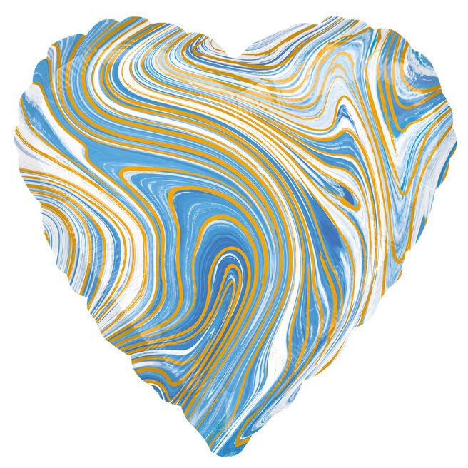 Blue Heart Marble-Effect 17-Inch Foil Helium Balloon