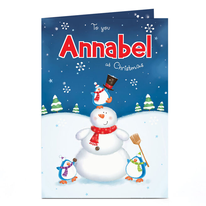 Personalised Christmas Card - Snowman & Penguins