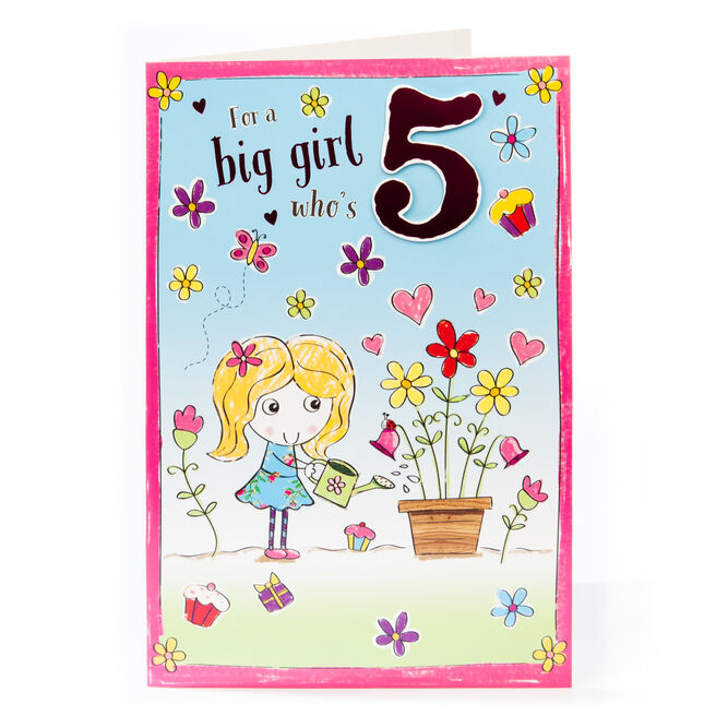 Giant 5th Birthday Card - For A Big Girl