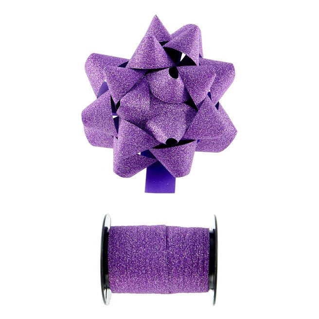 Purple Glitter Bow & Curling Ribbon