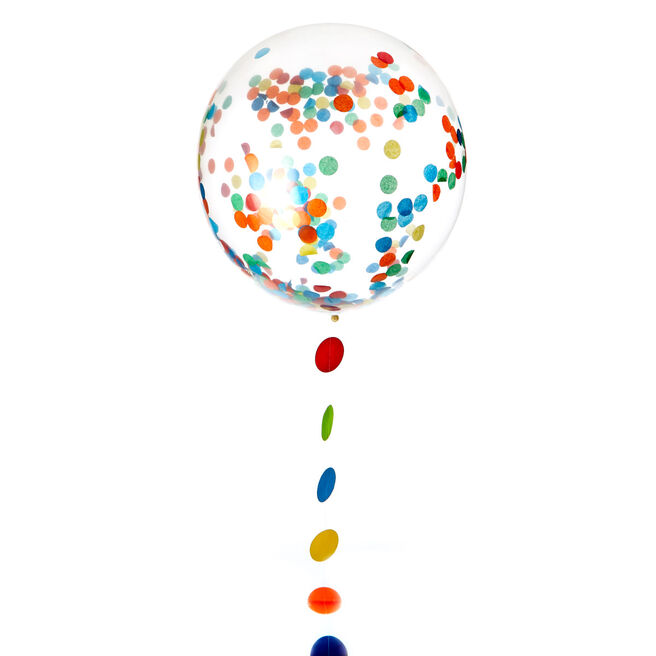 24-Inch Helium-Quality Latex Confetti Balloon & Tail