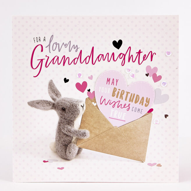 Exquisite Collection Birthday Card - Granddaughter Rabbit
