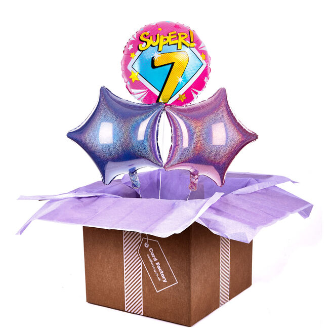 Super 7th Birthday Balloon Bouquet - DELIVERED INFLATED!
