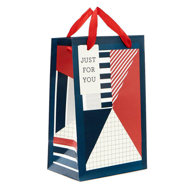 Extra Small Geometric Blue & Red Gift Bag