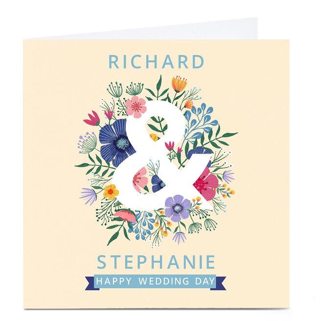 Personalised Dalia Clark Wedding Card - Floral Ampersand