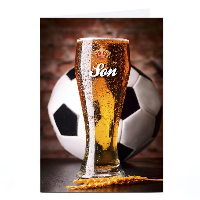 Personalised Card - Football & Beer, Son