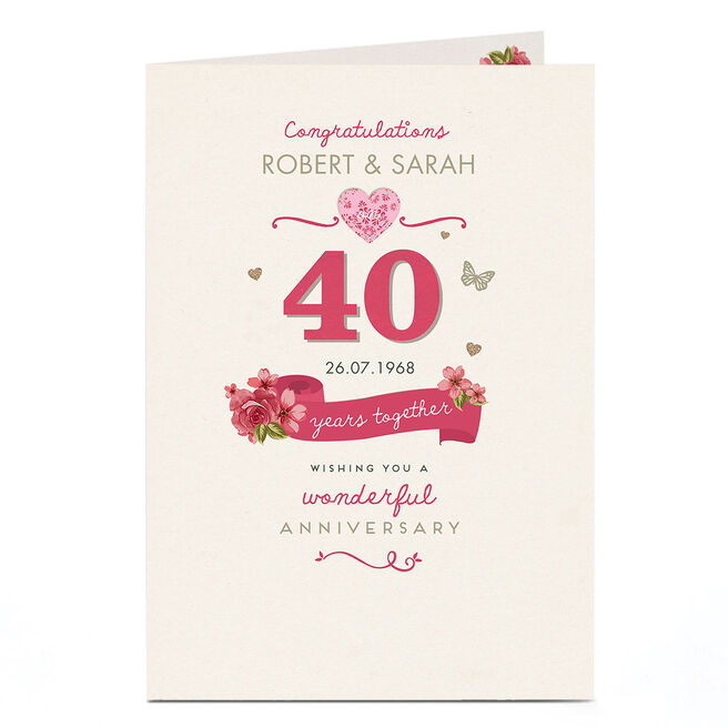 Personalised Anniversary Card - 40 Years Together