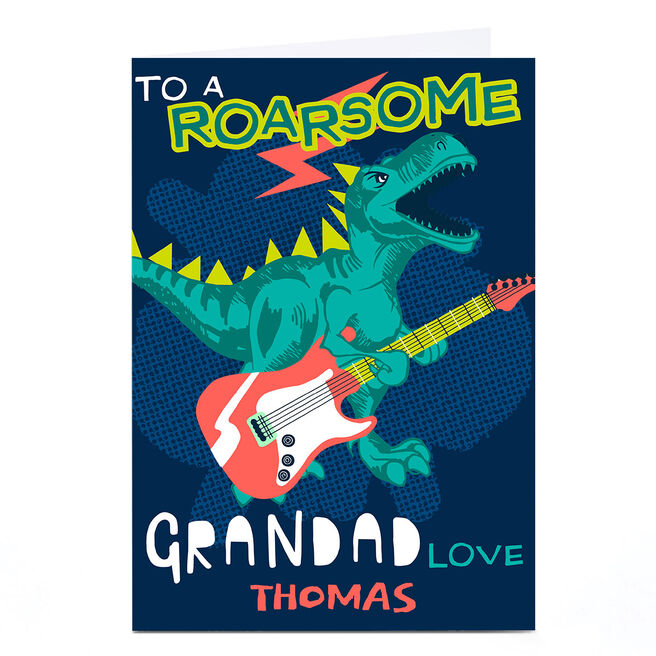 Personalised Bev Hopwood Father's Day Card - Grandad Dinosaur