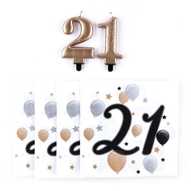 21st Birthday Napkin & Candle Bundle