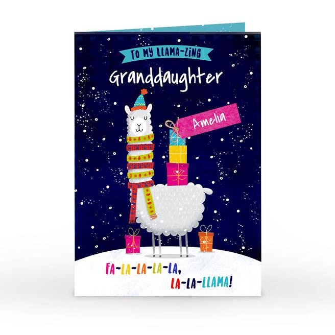 Personalised Christmas Card - To My Llama-Zing Granddaughter