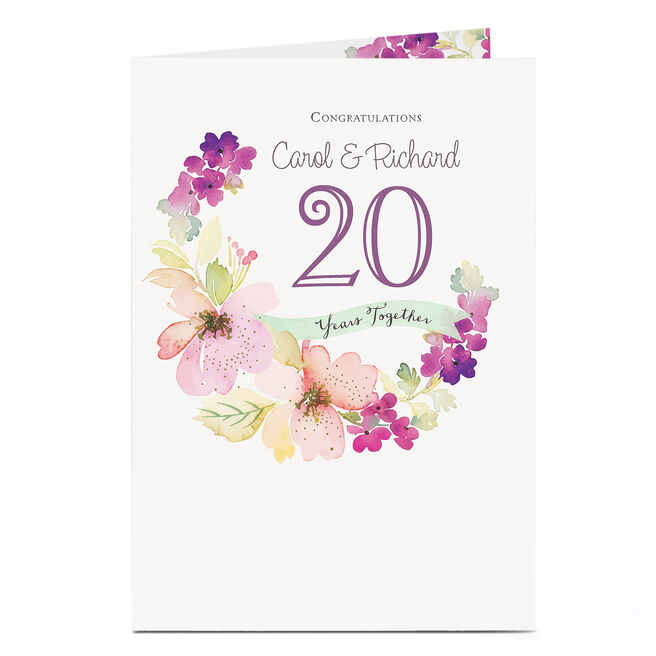 Personalised Anniversary Card - Watercolour Flowers, Any Year