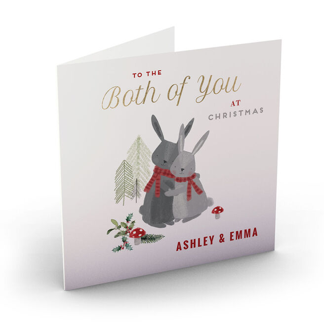 Personalised Christmas Card - To The Both Of You, Rabbits