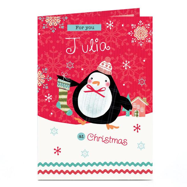 Personalised Christmas Card - Cartoon Penguin