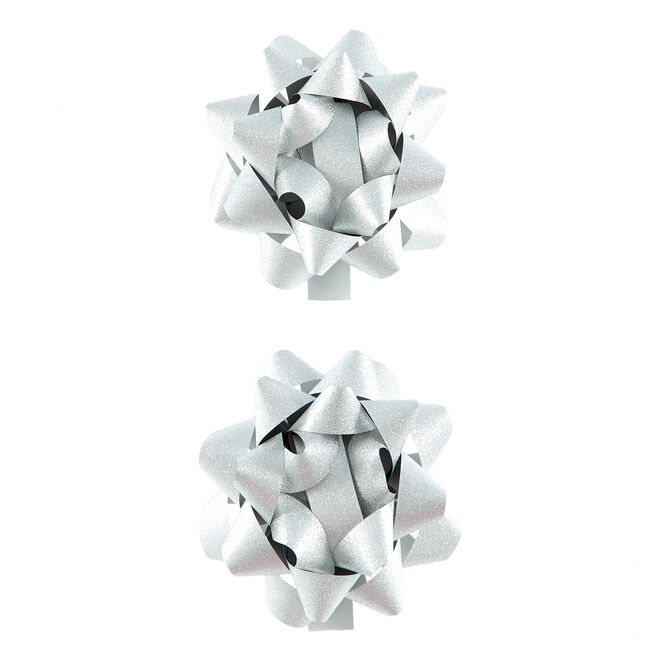Silver Glitter Gift Bows - Pack Of 2
