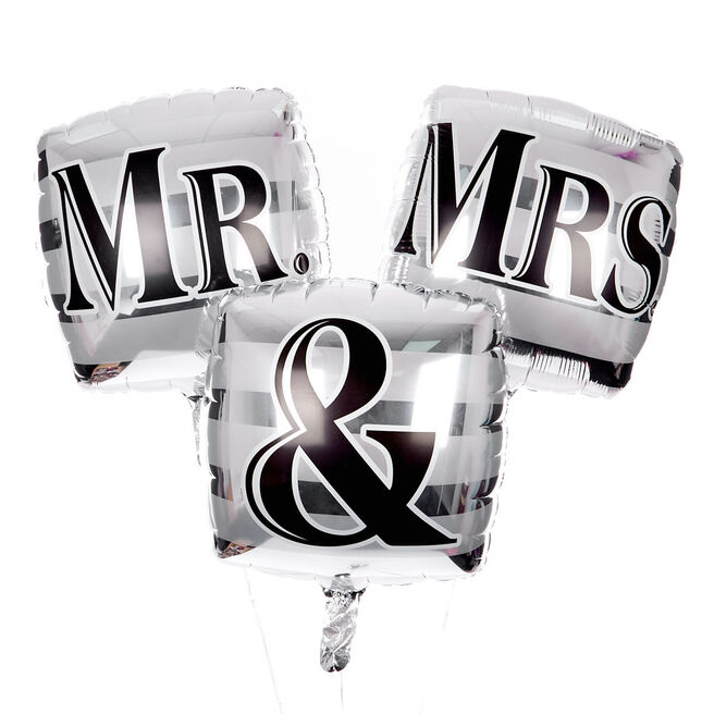 Square Mr & Mrs Balloon Bouquet - DELIVERED INFLATED!
