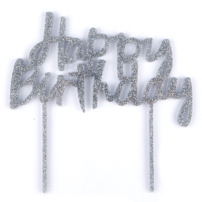 Silver Glitter Acrylic Happy Birthday Cake Topper