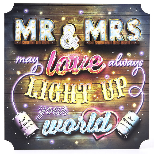 Mr & Mrs Light Up Your World Square Card