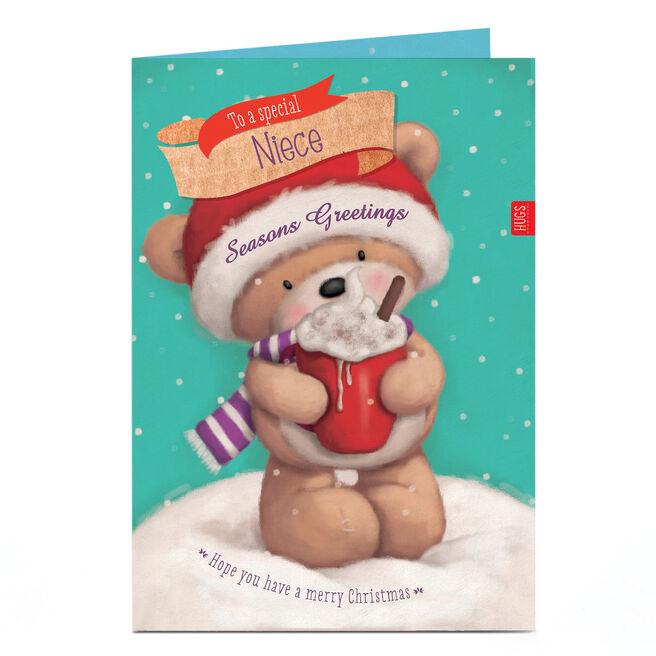 Personalised Christmas Card - Hugs Bear Hot Chocolate Niece